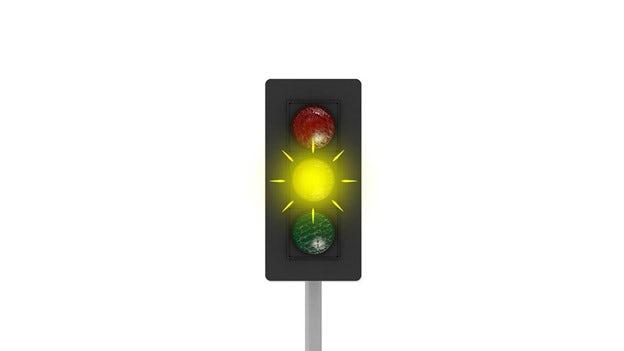 Ett blinkande trafikljus
