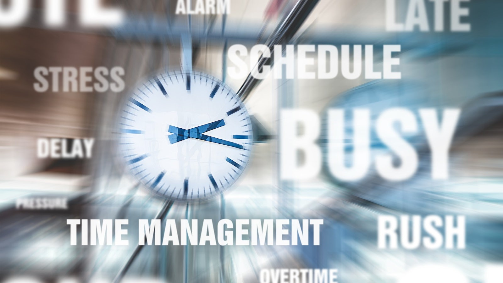 Time management, busy, rush, schedule, stress.