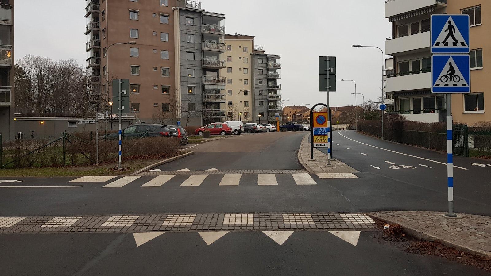 Bild på en upphöjd cykelöverfart.